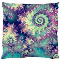 Violet Teal Sea Shells, Abstract Underwater Forest Large Cushion Case (two Sides) by DianeClancy