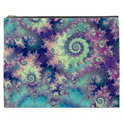Violet Teal Sea Shells, Abstract Underwater Forest Cosmetic Bag (xxxl) by DianeClancy