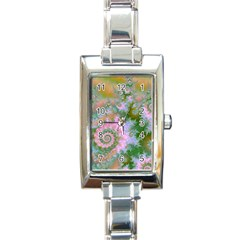 Rose Forest Green, Abstract Swirl Dance Rectangular Italian Charm Watch by DianeClancy