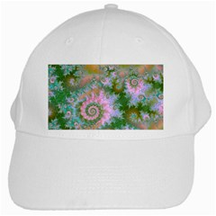 Rose Forest Green, Abstract Swirl Dance White Baseball Cap by DianeClancy