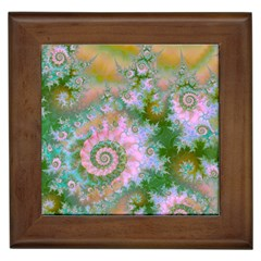Rose Forest Green, Abstract Swirl Dance Framed Ceramic Tile by DianeClancy