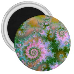 Rose Forest Green, Abstract Swirl Dance 3  Button Magnet by DianeClancy