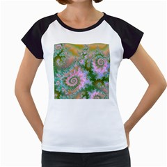 Rose Forest Green, Abstract Swirl Dance Women s Cap Sleeve T Shirt (white) by DianeClancy