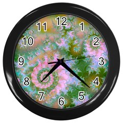 Rose Forest Green, Abstract Swirl Dance Wall Clock (black) by DianeClancy
