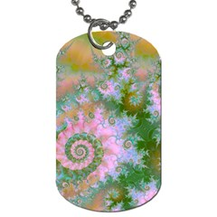 Rose Forest Green, Abstract Swirl Dance Dog Tag (two Sided)  by DianeClancy