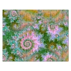Rose Forest Green, Abstract Swirl Dance Jigsaw Puzzle (rectangle) by DianeClancy