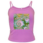 Rose Forest Green, Abstract Swirl Dance Spaghetti Top (Colored) Front