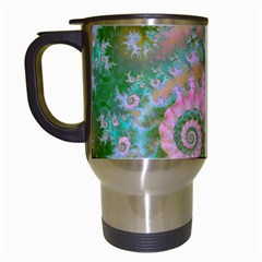 Rose Forest Green, Abstract Swirl Dance Travel Mug (white) by DianeClancy