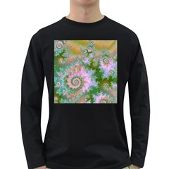 Rose Forest Green, Abstract Swirl Dance Men s Long Sleeve T Shirt (dark Colored) by DianeClancy