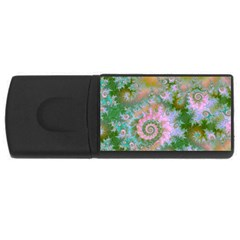 Rose Forest Green, Abstract Swirl Dance 4gb Usb Flash Drive (rectangle) by DianeClancy