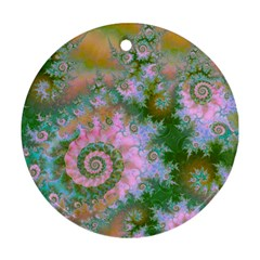 Rose Forest Green, Abstract Swirl Dance Round Ornament (two Sides) by DianeClancy