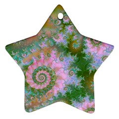 Rose Forest Green, Abstract Swirl Dance Star Ornament (two Sides) by DianeClancy