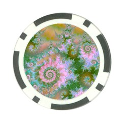 Rose Forest Green, Abstract Swirl Dance Poker Chip by DianeClancy