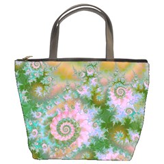 Rose Forest Green, Abstract Swirl Dance Bucket Handbag by DianeClancy