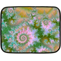 Rose Forest Green, Abstract Swirl Dance Mini Fleece Blanket (two Sided)