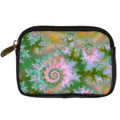 Rose Forest Green, Abstract Swirl Dance Digital Camera Leather Case by DianeClancy