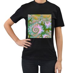 Rose Forest Green, Abstract Swirl Dance Women s T Shirt (black) by DianeClancy