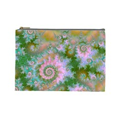 Rose Forest Green, Abstract Swirl Dance Cosmetic Bag (large) by DianeClancy
