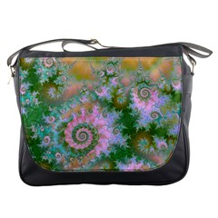 Rose Forest Green, Abstract Swirl Dance Messenger Bag by DianeClancy