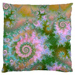 Rose Forest Green, Abstract Swirl Dance Large Cushion Case (two Sided)  by DianeClancy