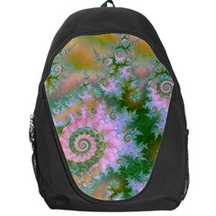 Rose Forest Green, Abstract Swirl Dance Backpack Bag by DianeClancy