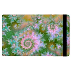 Rose Forest Green, Abstract Swirl Dance Apple Ipad 3/4 Flip Case by DianeClancy