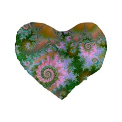 Rose Forest Green, Abstract Swirl Dance 16  Premium Heart Shape Cushion  by DianeClancy