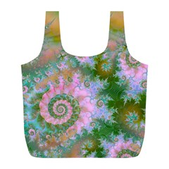 Rose Forest Green, Abstract Swirl Dance Reusable Bag (l) by DianeClancy