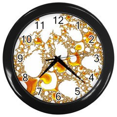 Special Fractal 04 Orange Wall Clock (black) by ImpressiveMoments