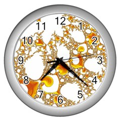 Special Fractal 04 Orange Wall Clock (silver) by ImpressiveMoments