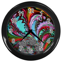 Special Fractal 02 Red Wall Clock (black) by ImpressiveMoments