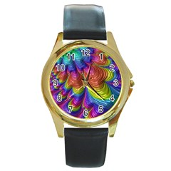 Radiant Sunday Neon Round Leather Watch (gold Rim)  by ImpressiveMoments