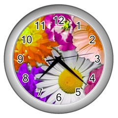 Lovely Flowers,purple Wall Clock (silver) by ImpressiveMoments