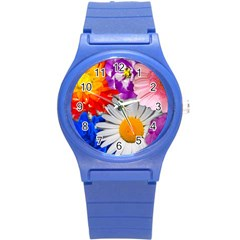 Lovely Flowers, Blue Plastic Sport Watch (small) by ImpressiveMoments