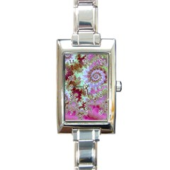 Raspberry Lime Delight, Abstract Ferris Wheel Rectangular Italian Charm Watch by DianeClancy