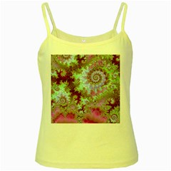 Raspberry Lime Delight, Abstract Ferris Wheel Yellow Spaghetti Tank by DianeClancy