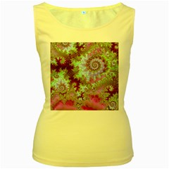 Raspberry Lime Delight, Abstract Ferris Wheel Women s Yellow Tank Top by DianeClancy