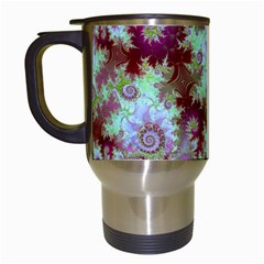 Raspberry Lime Delight, Abstract Ferris Wheel Travel Mug (white) by DianeClancy