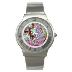 Raspberry Lime Delight, Abstract Ferris Wheel Stainless Steel Watch by DianeClancy