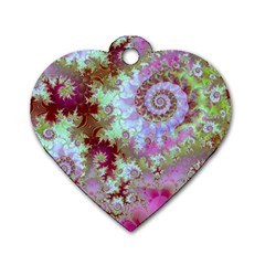 Raspberry Lime Delight, Abstract Ferris Wheel Dog Tag Heart (one Side) by DianeClancy