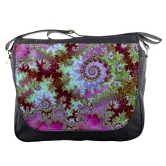 Raspberry Lime Delight, Abstract Ferris Wheel Messenger Bag by DianeClancy