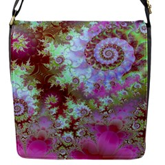 Raspberry Lime Delight, Abstract Ferris Wheel Flap Closure Messenger Bag (small) by DianeClancy