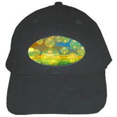 Golden Days, Abstract Yellow Azure Tranquility Black Baseball Cap by DianeClancy