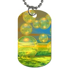 Golden Days, Abstract Yellow Azure Tranquility Dog Tag (two Sided)  by DianeClancy