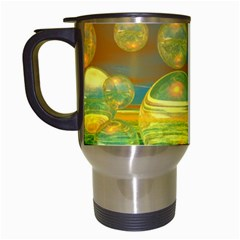 Golden Days, Abstract Yellow Azure Tranquility Travel Mug (white) by DianeClancy