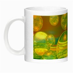 Golden Days, Abstract Yellow Azure Tranquility Glow In The Dark Mug by DianeClancy