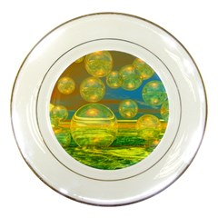 Golden Days, Abstract Yellow Azure Tranquility Porcelain Display Plate by DianeClancy