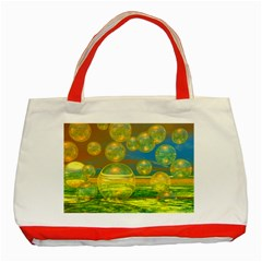 Golden Days, Abstract Yellow Azure Tranquility Classic Tote Bag (red) by DianeClancy
