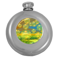 Golden Days, Abstract Yellow Azure Tranquility Hip Flask (round) by DianeClancy
