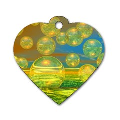 Golden Days, Abstract Yellow Azure Tranquility Dog Tag Heart (two Sided) by DianeClancy